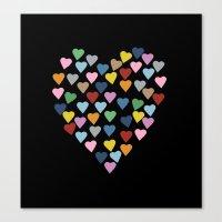 Hearts Heart Black Canvas Print