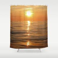 Sun Setting Over Calm Wa… Shower Curtain