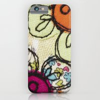 iPhone & iPod Case featuring Embroidered Flowers Green by Lizzie Searle