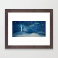 Seoul Winter Night Blues Framed Art Print