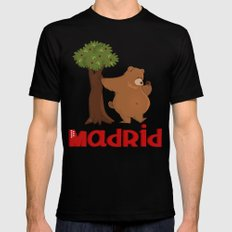 MADRID: Bear and Madrono (v.2) SMALL Black Mens Fitted Tee