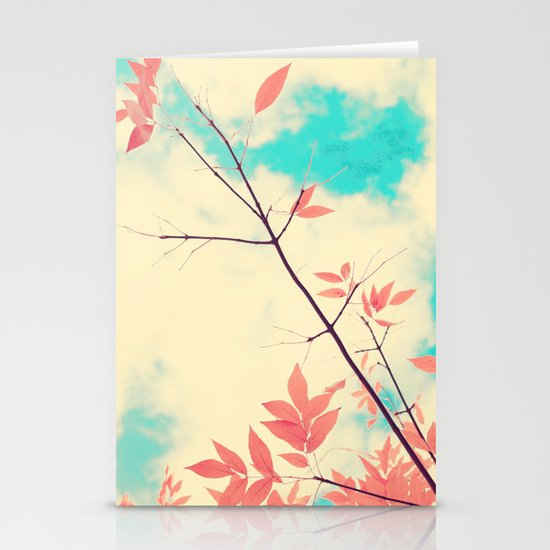 Pink fall leafs on retro vintage sky  Stationery Card