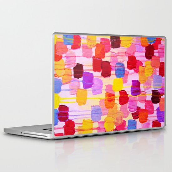 DOTTY in Pink - October Special Revisited Bold Colorful Square Polka Dots Original Abstract Painting Laptop & iPad Skin