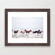 Framed Art Print featuring Winter Horseland by Kevin Russ
