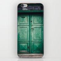 Green old door iPhone & iPod Skin