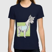 Alpaca In Coat Pattern Womens Fitted Tee Navy SMALL