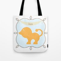 Tote Bag featuring Fun at the Zoo: Lion by rollerpimp