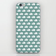 Elephants in love (turquoise) iPhone & iPod Skin