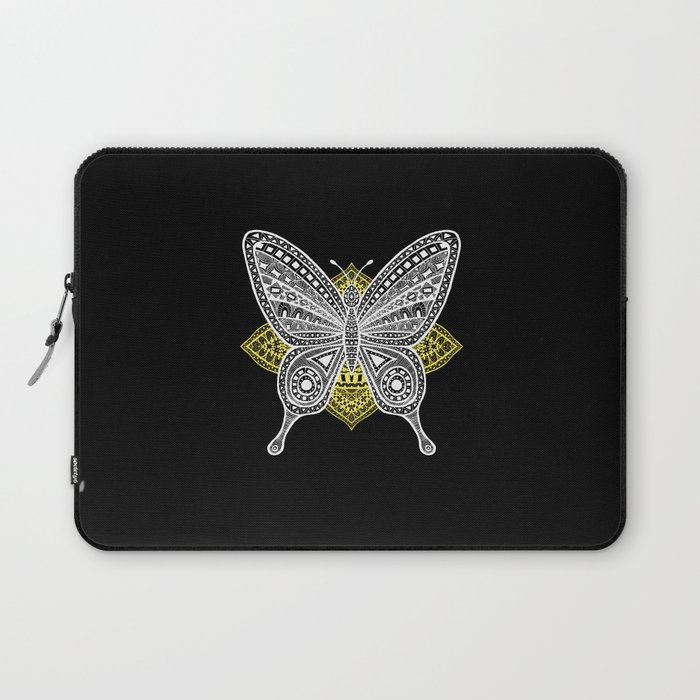 The Butterfly Watercolor Illustration on Laptop Sleeve by Haidi Shabrina