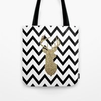 Glitter Deer Silhouette with Chevron Tote Bag