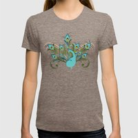 Just A Peacock Womens Fitted Tee Tri-Coffee SMALL