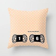 funny crochet knit humor knitting yarn bulky gym Throw Pillow