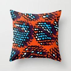 Orange and Blue Optical Pattern Throw Pillow