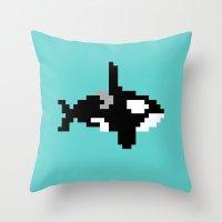 8-bit Orca Throw Pillow