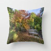 Autumn Bench  Throw Pillow