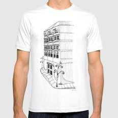 Art Nouveau Facade SMALL Mens Fitted Tee White