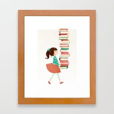 Library Girl Framed Art Print
