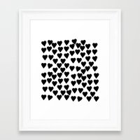 Hearts Black And White Framed Art Print