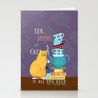 Tea, Books And Cats Stationery Cards