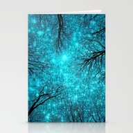 Black Trees Teal Space Stationery Cards