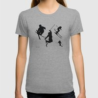 Skiing silhouettes Womens Fitted Tee Athletic Grey SMALL
