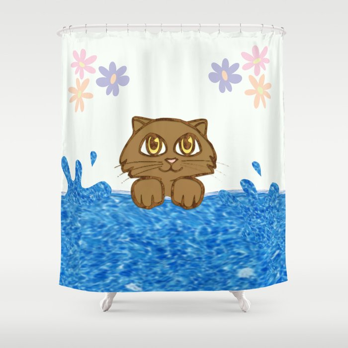 Cute Cat In Bath Tub Shower Curtain By Leatherwood Design