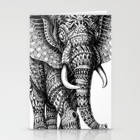 elephant Stationery Cards featuring Ornate Elephant v.2 by BIOWORKZ