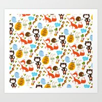 Fox, Bear And Rabbit Art Print