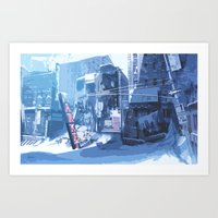 Winter Buildings Art Print