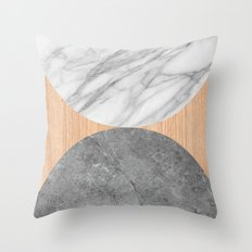MArble and Wood Abstract Throw Pillow