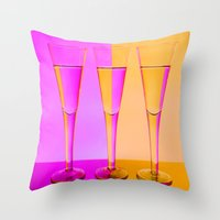 Three Coloured / Colored Wine Glasses  Throw Pillow