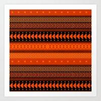 Under the Volcano - tribal geometrics Art Print