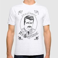 Constantly Ron Swansonin… Mens Fitted Tee Ash Grey SMALL
