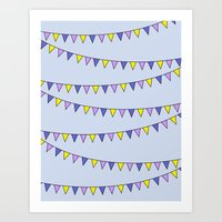 Flag Bunting (purple) Art Print
