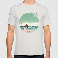 Calm Ocean Mens Fitted Tee Silver SMALL
