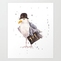 Seagull, seagull watercolor, office humor, funny animals, birds in hats Art Print