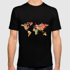 Geometric Map Black Mens Fitted Tee SMALL