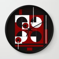 Geometric/Red-White-Blac… Wall Clock