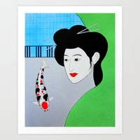 Koi Tancho Geisha Art Print