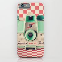 iPhone & iPod Case featuring Mint Retro Camera on Red Chequered Background  by AC Photography
