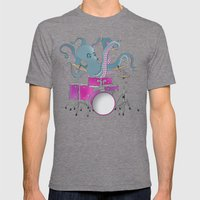 Octopus Playing Drums - Blue Mens Fitted Tee Tri-Grey SMALL