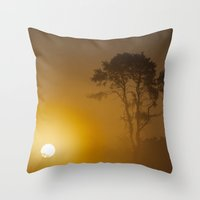 Rising Sun And Tree Throw Pillow