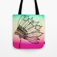 Native American Spiritual Feather Headdress Tote Bag