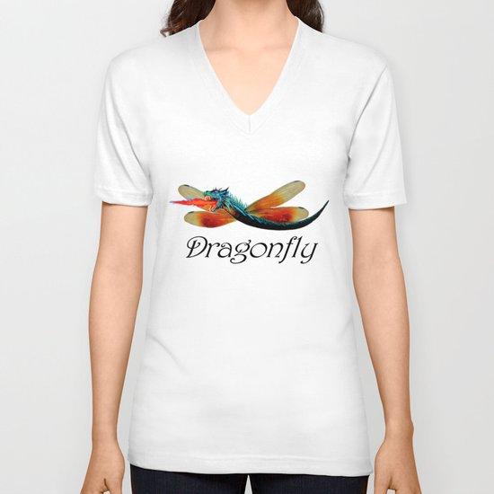 Dragon fly V-neck T-shirt