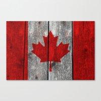 Canada Flag On Heavily T… Canvas Print