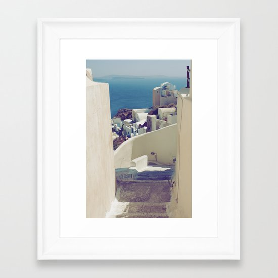 Santorini Stairs IV Framed Art Print