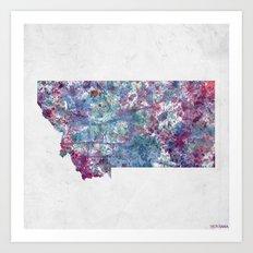 Montana map Art Print