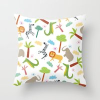 A HAPPY DAY  IN JUNGLE Throw Pillow