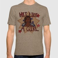 Hit Like A Girl Mens Fitted Tee Tri-Coffee SMALL