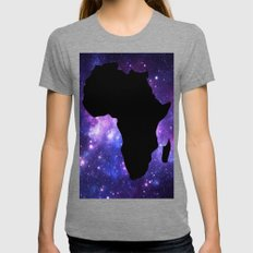 Galaxy AFrica Continent Purple Blue Womens Fitted Tee Tri-Grey SMALL